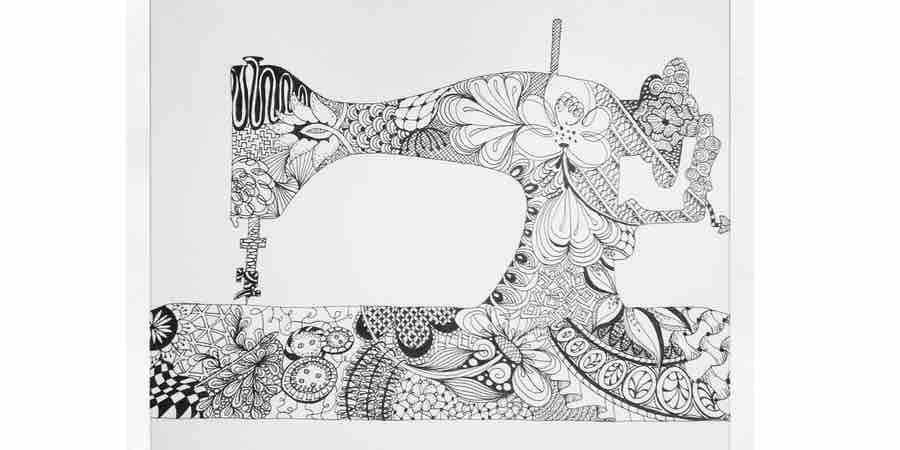 Máquina de coser con estilógrafo